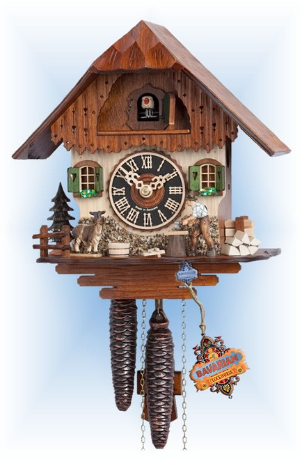 Hones | 1750 | 9''H | Goat Farmer | Chalet style | cuckoo clock | full view