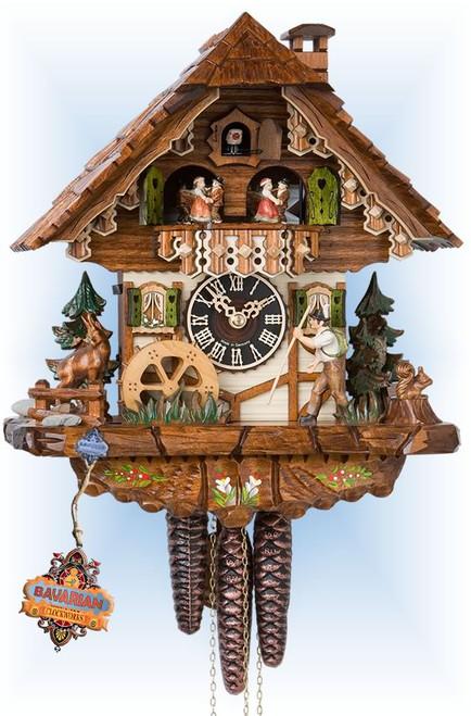 Hones | 6752t | 12''H | Happy Wanderer | Chalet style | cuckoo clock | full view