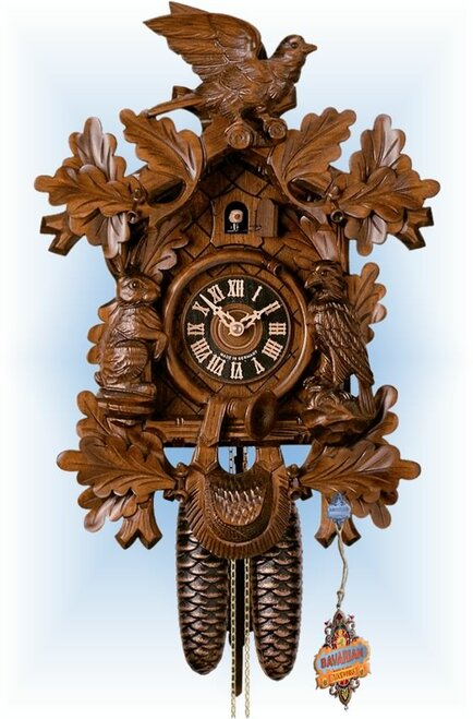 Hones | 8277-4nu | 16''H | Rabbit Hunters | Traditional | cuckoo clock | full view