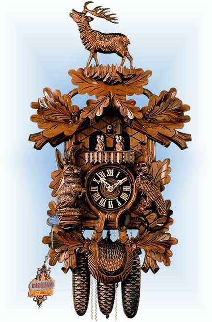 Hones | 86248-5tnu | 23''H | Bellowing Stag | Traditional | cuckoo clock | full view