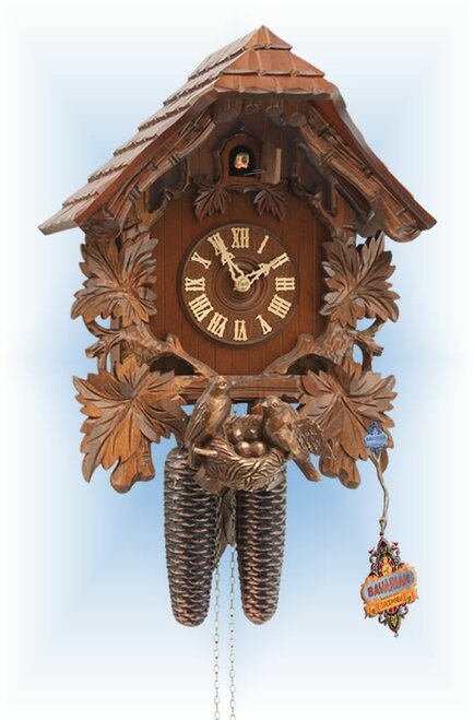 Rombach & Haas | 3461 | 15''H | Bird Nest House | Chalet style | cuckoo clock | full view