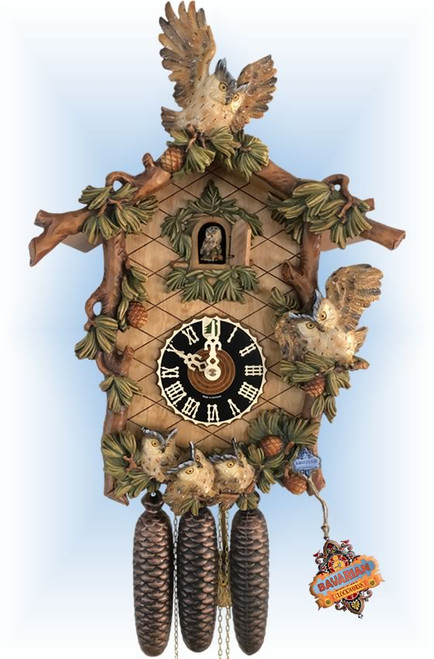 Hones cuckoo clock | 8639-6 | 20''H | Owl Family | Traditional | full view