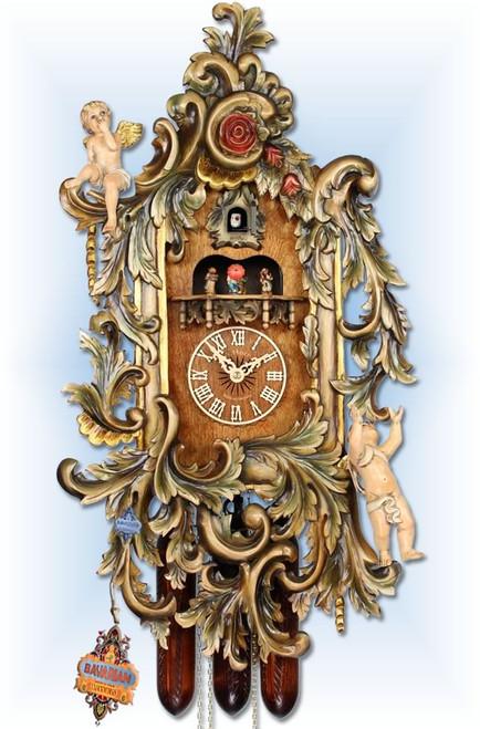 "Adolf Herr Gilded Cherub | 28""H Antique Cuckoo Clock | Full View"
