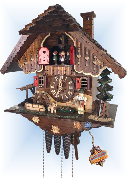 Schneider | mt-1709/9 | 14''H | Accordion Serenade | Chalet style | cuckoo clock | full view