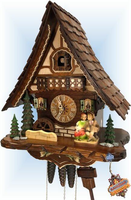 Cuckoo Clock chalet style musical 15 inch Kissing Couple by Hekas - right angle