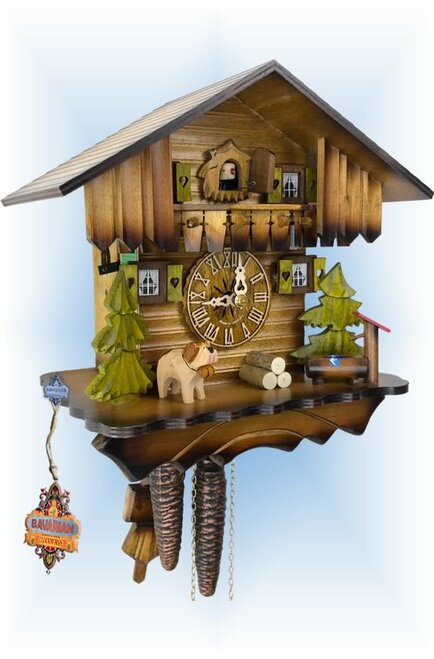 Cuckoo Clock chalet style 10 inch Little House by Hekas - left angle