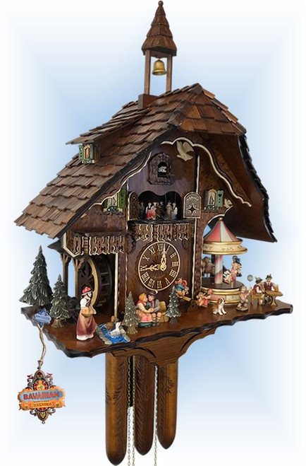 Cuckoo Clock chalet style 25 inch musical Fun Fair by Adolf Herr - left angle