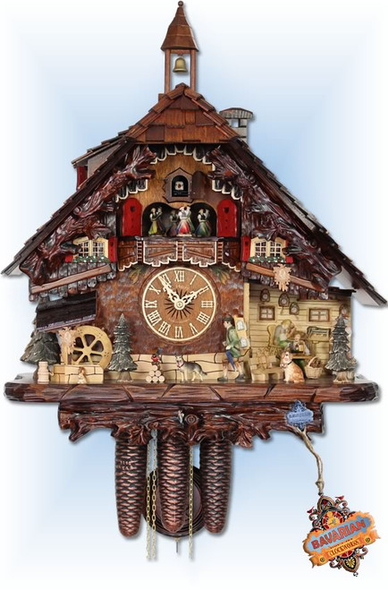 Adolf Herr | UK-80-8tmt | 18''H | The Clockmaker | Chalet style | cuckoo clock | full view