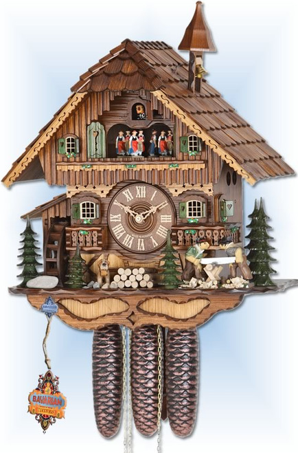 Hekas | 3728/8 | 18''H | Sawmill | Chalet style | cuckoo clock | full view