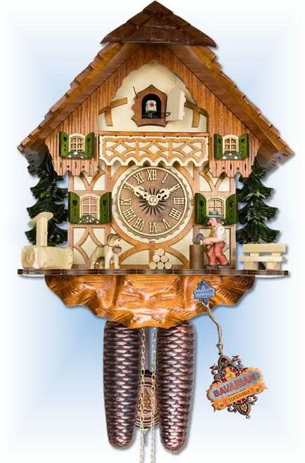 Adolf Herr | 317/1-8T | 14''H | Wood Chopper | Chalet | cuckoo clock | full view