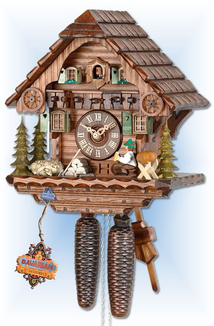 Hekas | 879 | 13''H | Beer Time | Chalet style | cuckoo clock | full view