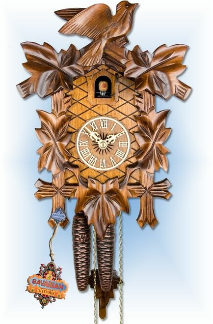 Adolf Herr | 100/1 | 12''H | Vine Leaves | Traditional | cuckoo clock | full view