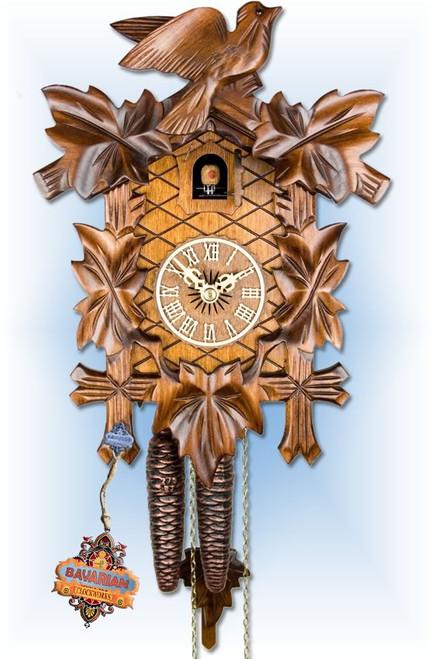 Adolf Herr   100/1   12''H   Vine Leaves   Traditional   cuckoo clock   full view