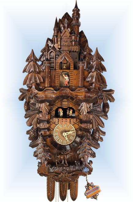 Cuckoo Clock carved style 34 inch Neuschwanstein Castle by Adolf Herr