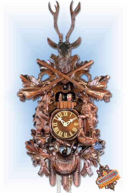 "Adolf Herr Big Bear Hunter 32""H Hand Carved German Cuckoo Clock | Full View"