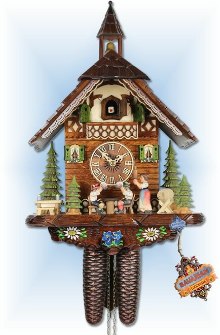 Adolf Herr | 314/12-8t | 17''H | Tipsy Bros | Chalet style | cuckoo clock | full view
