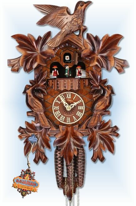 "Adolf Herr Alpine Flowers 12""H Hand Carved German Cuckoo Clock | Front View"