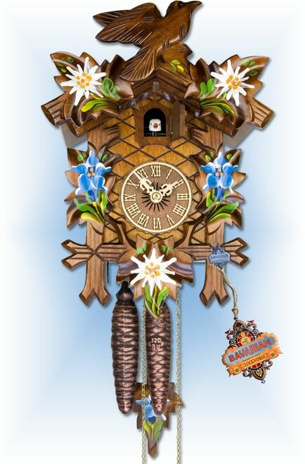 "Adolf Herr Alpine Floral 12""H Hand Carved German Cuckoo Clock | Full View"