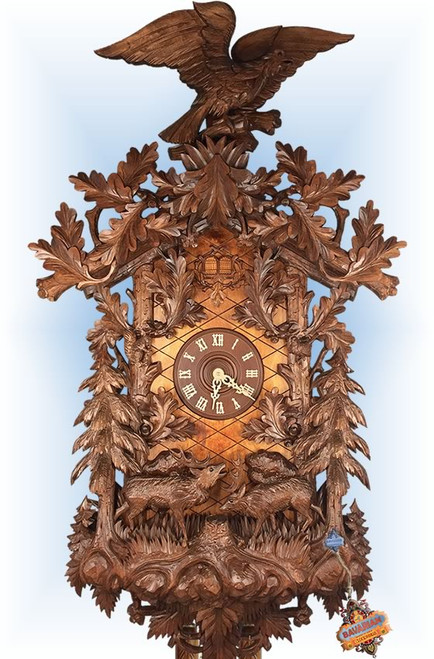 Cuckoo Clock carved style 59 inch Grand Collectors by Rombach und Haas close up