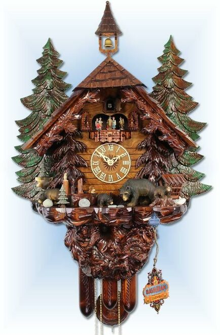 Big Bear Family by Adolf Herr | 31''H Chalet Cuckoo Clock | Full View