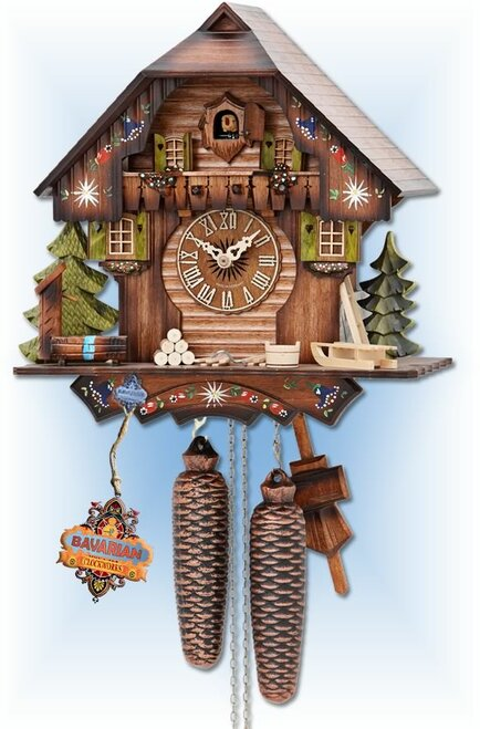 Alpine Forest by Hekas | 12''H Chalet Cuckoo Clock | Front View