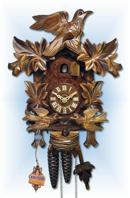 August Schwer | 1.0074.01.C | 13''H | Moving Birds | Traditional | 1 Day | cuckoo clock | full view