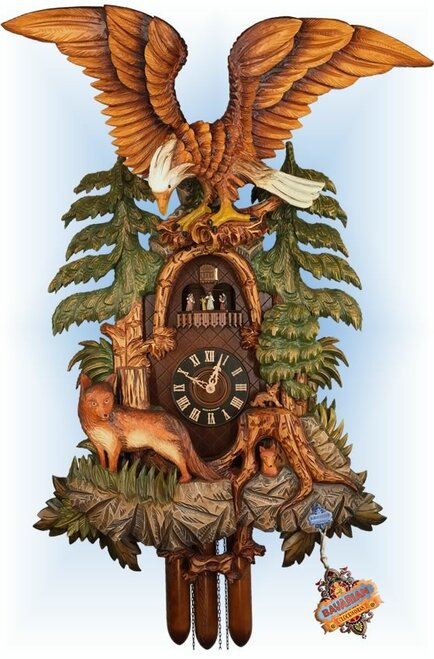 Cuckoo Clock hand carved 38 inch Fox and Eagle by August Schwer