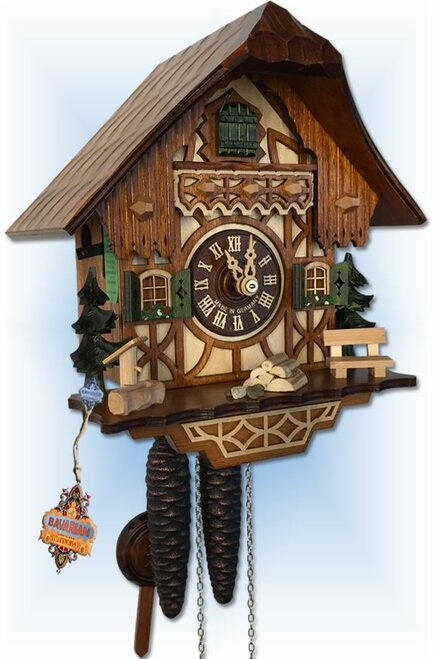 Classic Cottage by August Schwer | 9''H Chalet Cuckoo Clock | Side View