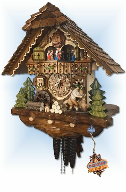 "Cuckoo clock 1 day Choppers Cottage chalet 14"" by Hekas HX3702EX right side"