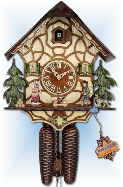 Adolf Herr | 301/1 8T | 13''H | Black Forest Traditions | Chalet style | cuckoo clock | full view