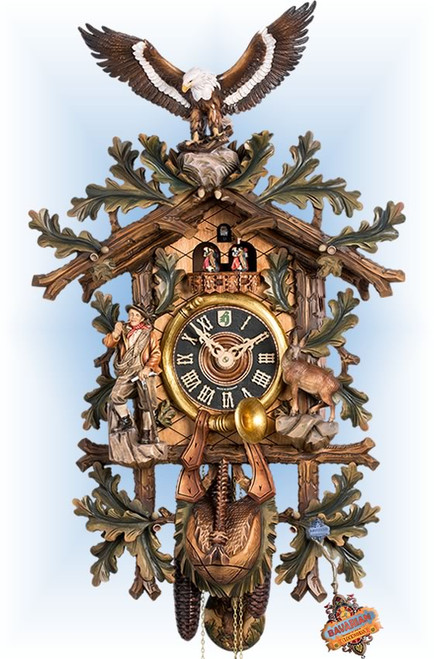 HONES | 8667/8 TBU | 42 inch | Hand Painted Eagle | Hand Carved | cuckoo clock | full view