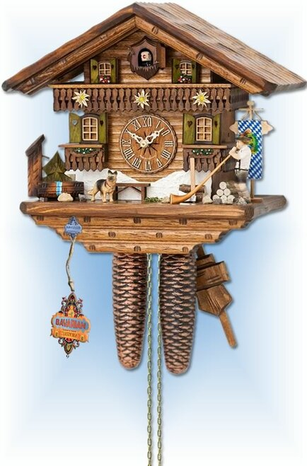 Alpine Horn by Hekas | 14 inch Chalet Cuckoo Clock | Front View