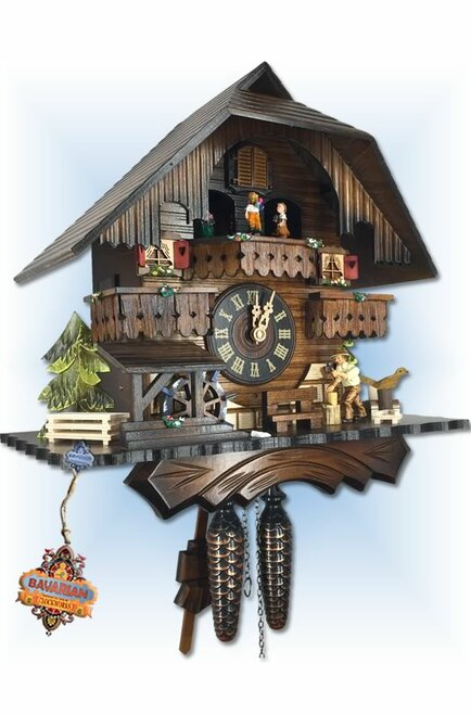 Cuckoo Clock quartz musical chalet 13 inch Happy Forest by Engstler - left angle