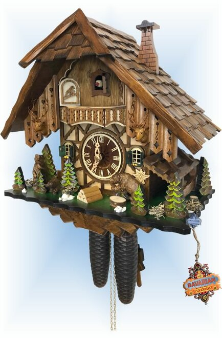 Cuckoo Clock chalet style 14 inch Jumping Bear by Engstler - right angle