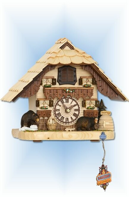 Trenkle | 4203 QM | 8 inch | Honey Bear Mantle | Chalet | cuckoo clock | full view 2