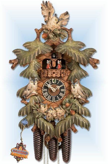 Hones Owl Family cuckoo clock