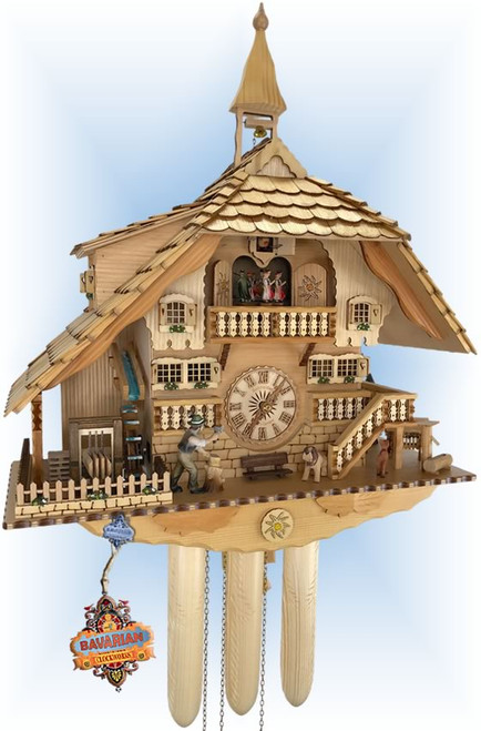 Anton Schneider | 8TMT 1071/0 | 23 inch | Natural Sawmill | Chalet | cuckoo clock | full view