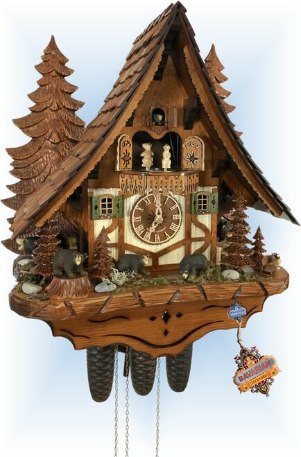 Cuckoo Clock chalet style 18 inch 1Bear Chalet by Anton Schneider - left angle
