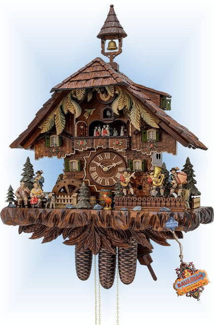 "Cuckoo clock 8 day Bavarian Band chalet 25"" by Hekas HX37568EX"