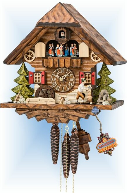 "Cuckoo clock 1 day Musical Woodsman chalet 14"" by Hekas"