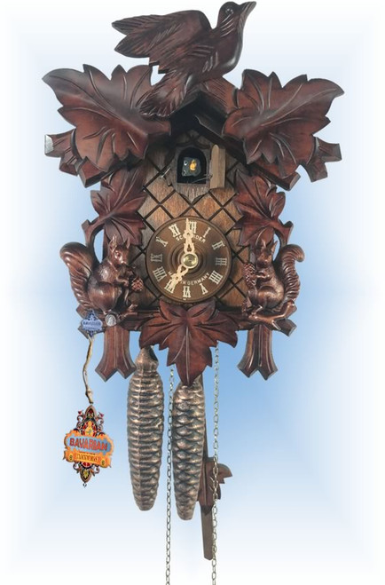 Cuckoo Clock carved style 9 inch Gathering Squirrels by Anton Schneider - cuckoo
