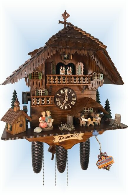 Cuckoo Clock chalet style 20 inch Tannenhof by Anton Schneider left angle