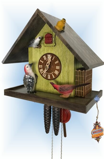 Cuckoo Clock chalet style 12 inch Birdwatcher Limited Edition by Bavarian Clockworks