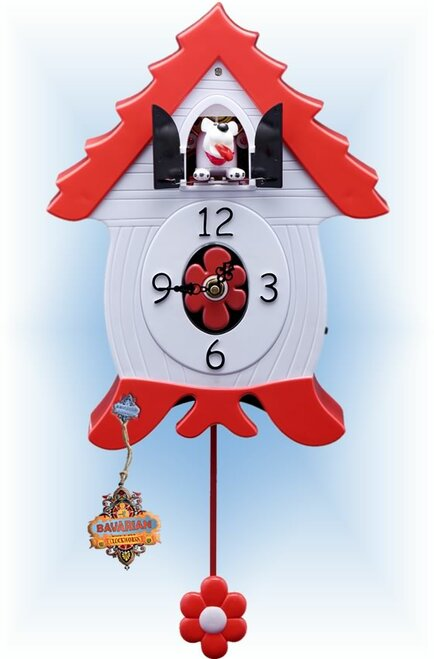 Barking Pup by Bavarian Clockworks | 12 inch Modern Cuckoo Clock | Front View