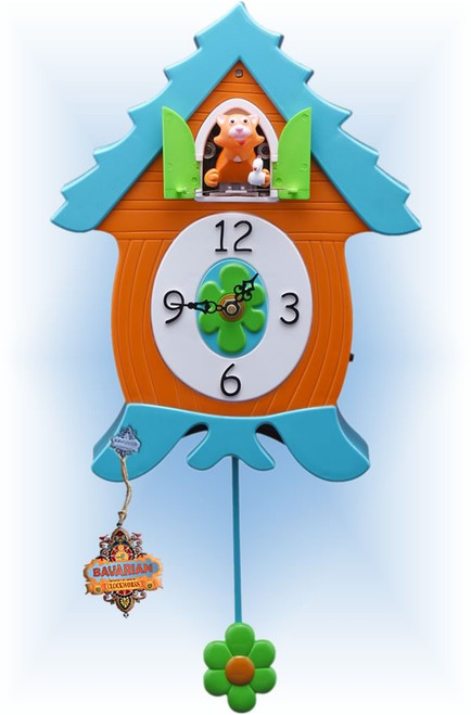 Cats Meow by Bavarian Clockworks | 12 inch Modern Cuckoo Clock | Front View