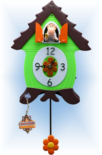 Cuckoo Clock kids quartz 12 inch Funky Monkey by Bavarian Clockworks