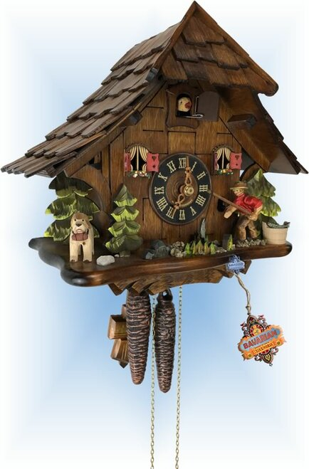 Cuckoo Clock chalet style 10 inch Fisherman by Engstler - left with cuckoo