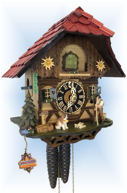 Cuckoo Clock chalet style 9 inch Mountain Hike by Hones - left angle