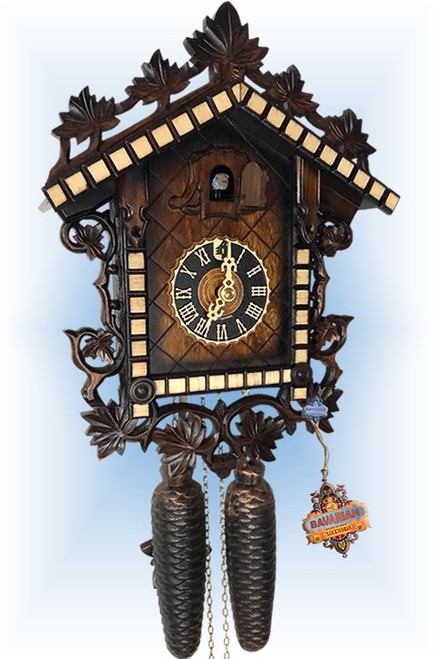 Cuckoo Clock vintage style 13 inch 2 tone railway by Hones - slight angle
