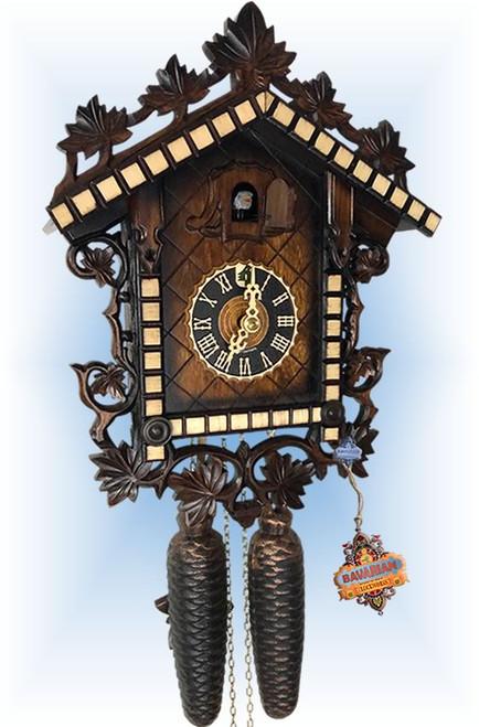 Cuckoo Clock vintage style 13 inch 2 tone railway by Hones - slight angle